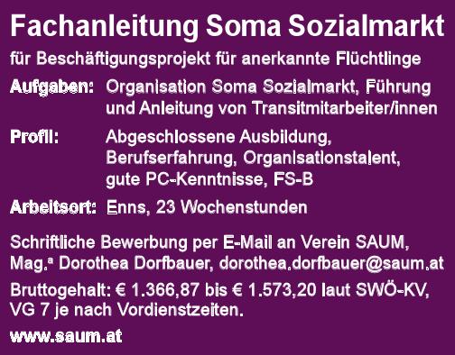 Fachanleitung Soma Sozialmarkt für Beschäftigungsprojekt für anerkannte Flüchtlinge