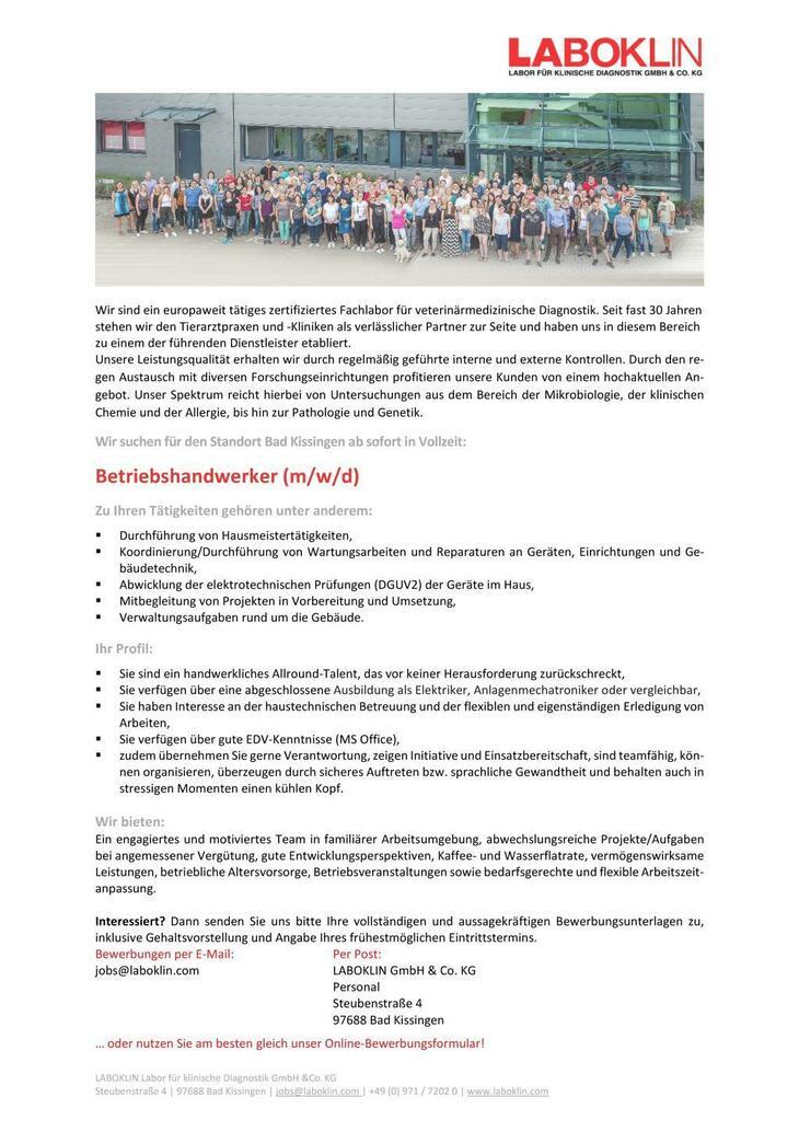 Für den Standort Bad Kissingen suchen wir ab sofort ein handwerkliches Allround-Talent (m/w) in Vollzeit.