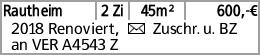 Rautheim 2 Zi 45m² 600,-€ 2018 Renoviert, Y Zuschr. u. BZ an VER A4543...