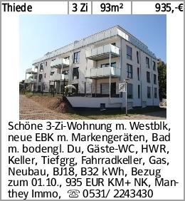 Thiede 3 Zi 93m² 935,-€ Schöne 3-Zi-Wohnung m. Westblk, neue EBK m. Markengeräten,...