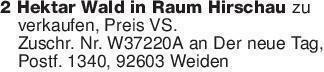 2 Hektar Wald in Raum Hirschau...