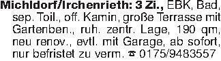 Michldorf/Irchenrieth: 3 Zi.,...