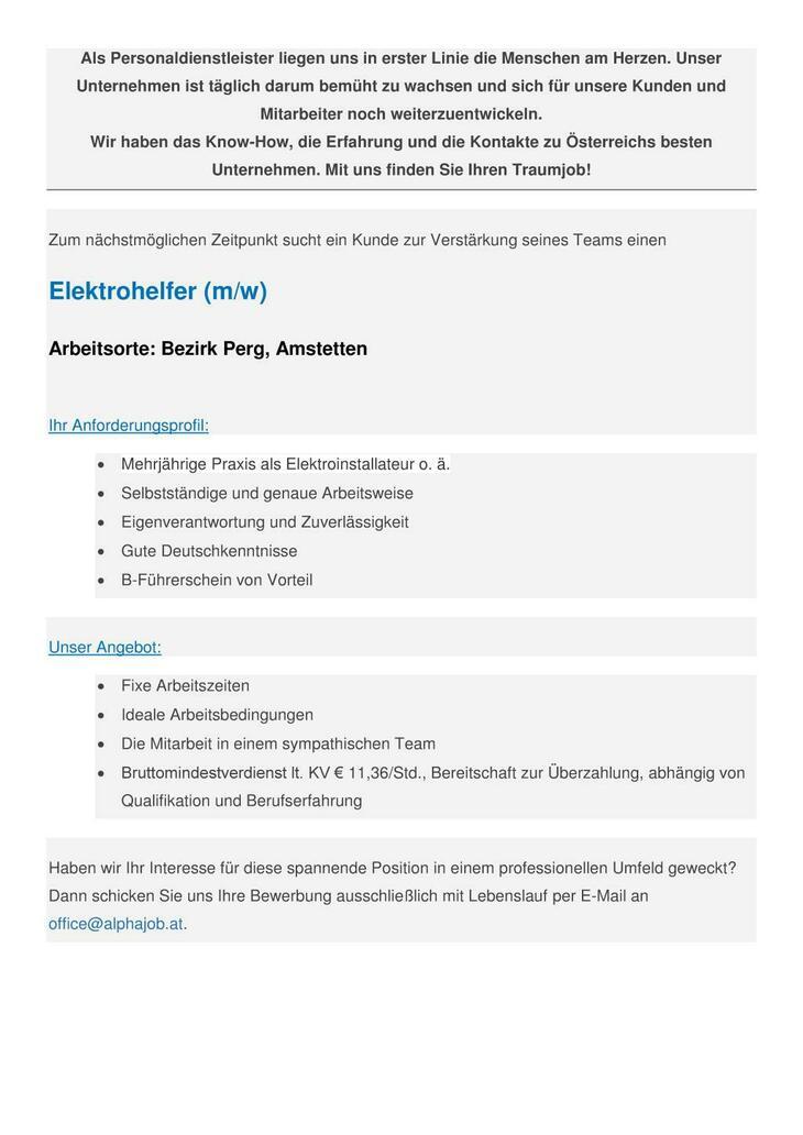 Elektrohelfer (m/w) Arbeitsort: Bezirk Perg, Amstetten
