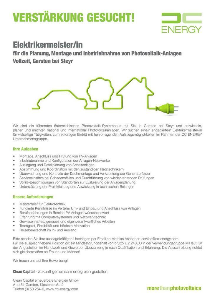 ElektrikermeisterIn für die Planung, Montage und Inbetriebnahme von Photovoltaik-Anlagen Vollzeit, Garsten bei Steyr