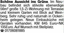 2-Zimmer Mietwohnung in Ockenheim (55437)