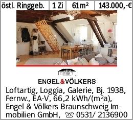 östl. Ringgeb. 1 Zi 61m² 143.000,-€ Loftartig, Loggia, Galerie, Bj. 1938,...