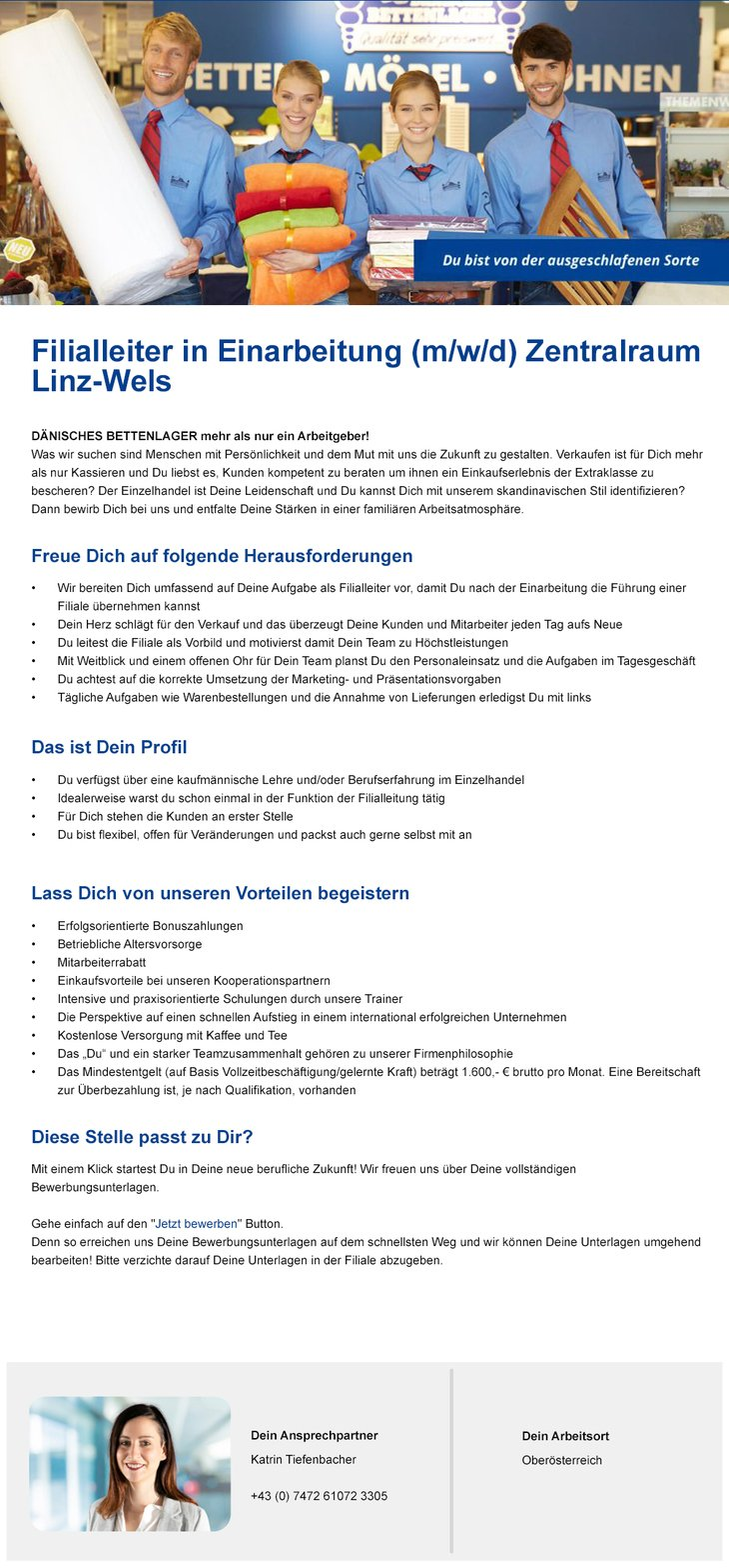Filialleiter in Einarbeitung für den Zentralraum Linz-Wels gesucht!