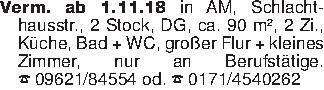 Verm. ab 1.11.18 in AM, Schlac...