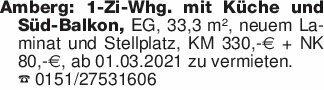 Amberg: 1-Zi-Whg. mit Küche un...