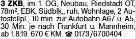 3-Zimmer Mietwohnung in Riedstadt (64589)