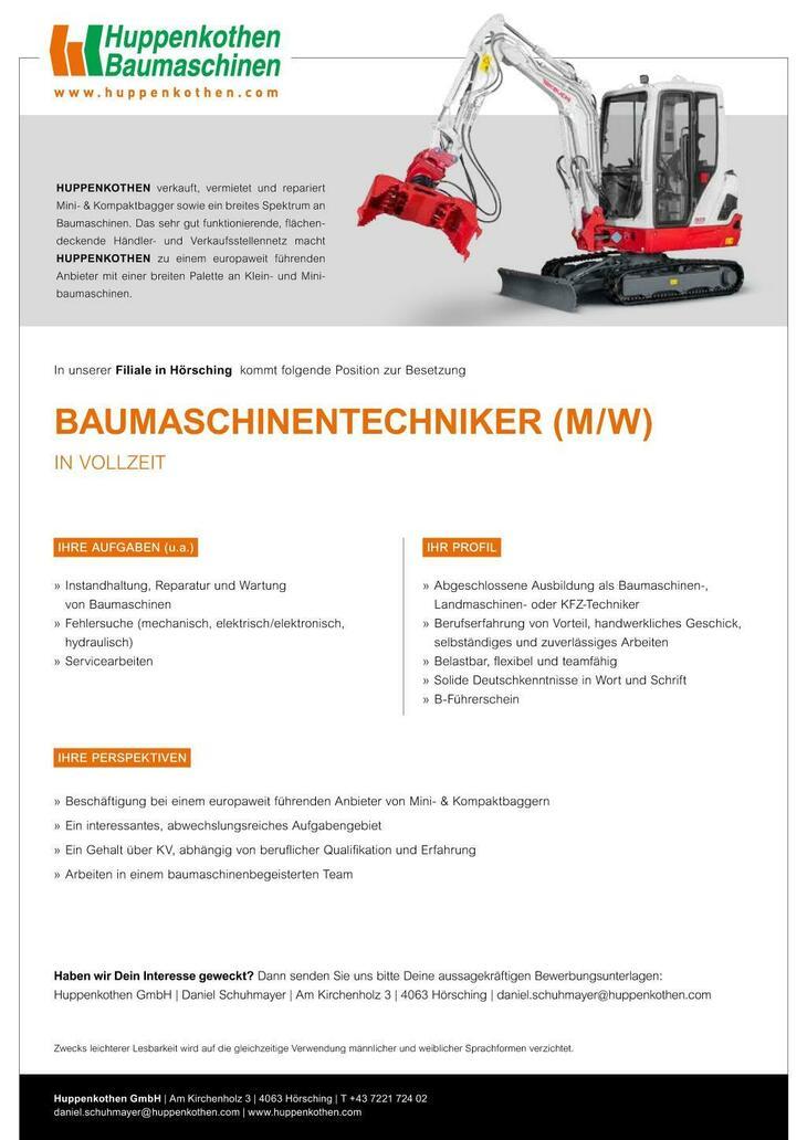 IHRE AUFGABEN » Instandhaltung, Reparatur und Wartung von Baumaschinen » Fehlersuche (mechanisch, elektrisch/elektronisch, hydraulisch) » Servicearbeiten