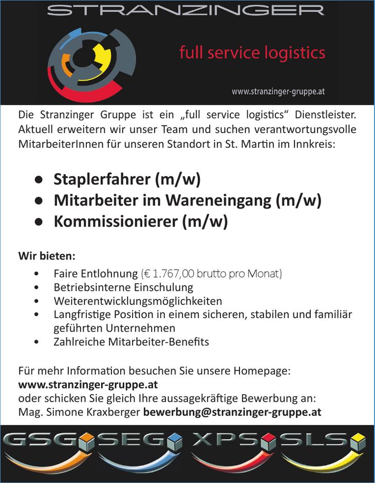 """Die Stranzinger Gruppe ist ein """"full service logisti cs"""" Dienstleister. Aktuell erweitern wir unser Team und suchen verantwortungsvolle MitarbeiterInnen für unseren Standort in St. Marti n im Innkreis"""