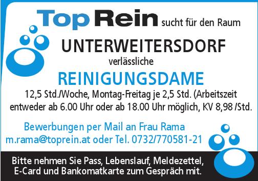 TopRein sucht für den Raum Unterweitersdorf verlässliche REINIGUNGSDAME 12,5 Std./Woche, Montag-Freitag je 2,5 Std.