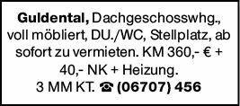 1-Zimmer Mietwohnung in Guldental (55452)