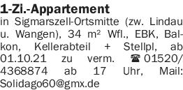 Vermietung 1-2 Zimmer-Wohnungen