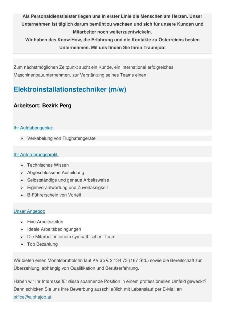 Elektroinstallationstechniker (m/w)  Bezirk Perg