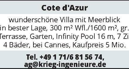 Cote d'Azur wunderschöne Villa mit Meerblick