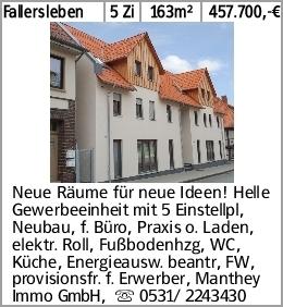 Fallersleben 5 Zi 163m² 457.700,-€ Neue Räume für neue Ideen! Helle Gewerbeeinheit...