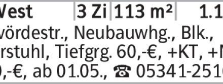 Anzeigentitel Calvördestr., Neubauwhg., Blk., Fahrstuhl, Tiefgrg. 60,-€,...