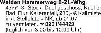 Weiden Hammerweg 2-Zi.-Whg, 45...