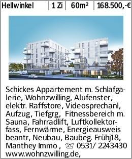 Hellwinkel 1 Zi 60m² 168.500,-€ Schickes Appartement m. Schlafgalerie,...