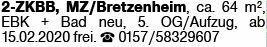 2-Zimmer Mietwohnung in Mainz (55128)