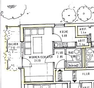 Wohnung mit Südbalkon, Einbauküche und Dusche/WC