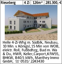 Rieseberg 4 Zi 126m² 281.300,-€ Helle 4-Zi-Whg m. Südblk, Neubau, 10 Min....