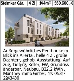 Steimker Gär. 4 Zi 144m² 550.600,-€ Außergewöhnliches Penthouse m. Blick...