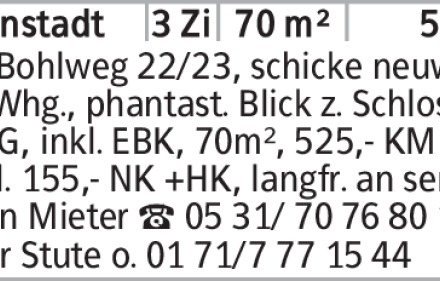 BS Bohlweg 22/23, schicke neuw. 3-Zi.-Whg., phantast. Blick z. Schloss,...