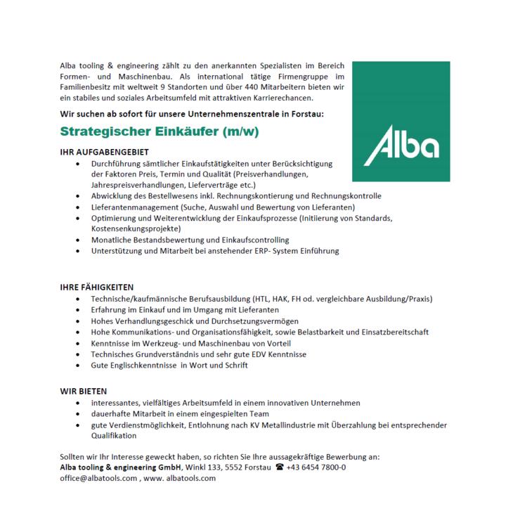 Alba tooling & engineering zählt zu den anerkannten Spezialisten im Bereich Formen- und Maschinenbau. Als international tätige Firmengruppe im Familienbesitz mit weltweit 9 Standorten und über 440 Mit