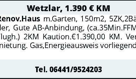 Wetzlar, 1.390 € KM