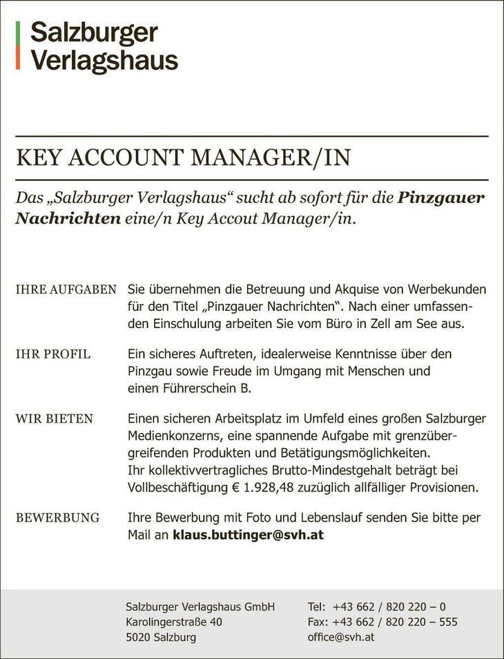 """Das """"Salzburger Verlagshaus"""" sucht ab sofort für die Pinzgauer Nachrichten eine/n Key Accout Manager/in."""