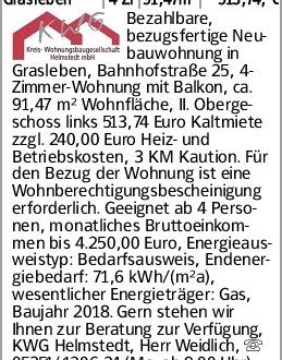 Grasleben 4 Zi 91,47m² 513,74,-€ Bezahlbare, bezugsfertige Neubauwohnung...