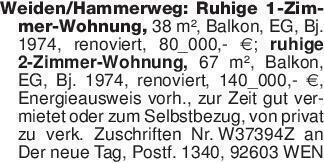 Weiden/Hammerweg: Ruhige 1-Zim...