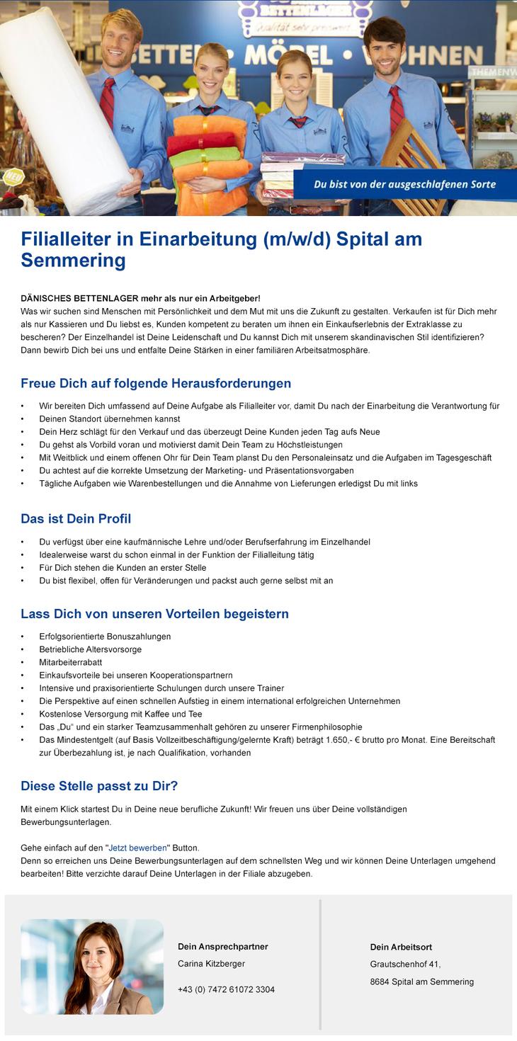 Filialleiter in Einarbeitung für Spital am Semmering gesucht!