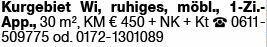 1-Zimmer Mietwohnung in Wiesbaden (65189)