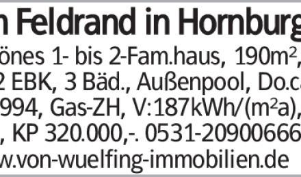 Am Feldrand in Hornburg Schönes 1- bis 2-Fam.haus, 190m², 6 Zi, 2 EBK,...