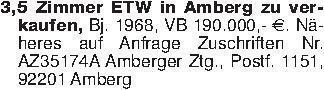 3,5 Zimmer ETW in Amberg zu ve...
