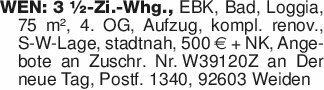 WEN: 3 ½-Zi.-Whg., EBK, Bad, L...