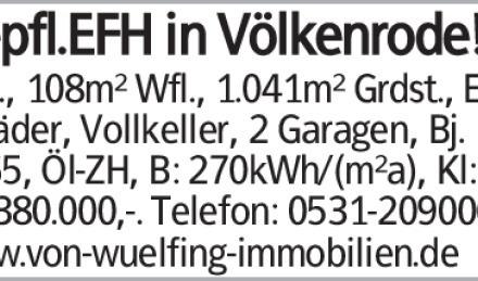 Gepfl. EFH in BS-Völkenrode!