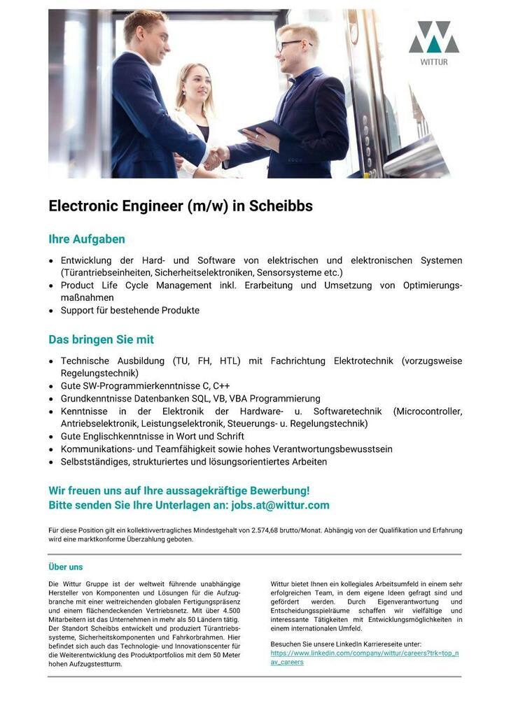 Wir sind der international führende Entwickler und Hersteller von Aufzugskomponenten. Für unseren Standort in Scheibbs suchen wir einen Electronic Engineer (m/w).