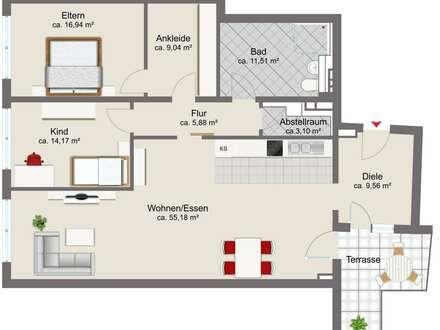 3-Zimmer-Neubau-Wohnung direkt im Zentrum
