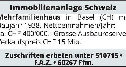 Immobilienanlage Schweiz