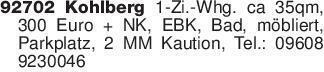 92702 Kohlberg 1-Zi.-Whg. ca 3...