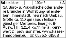 Fallersleben 110m² k.A. 1A Büro- u. Praxisfläche oder andere Branche in...