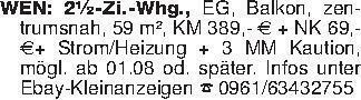 WEN: 2½-Zi.-Whg., EG, Balkon,...