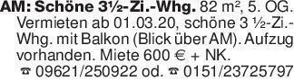 AM: Schöne 3½-Zi.-Whg. 82 m²,...