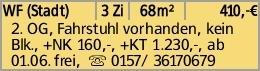 WF (Stadt) 3 Zi 68m² 410,-€ 2. OG, Fahrstuhl vorhanden, kein Blk., +NK...