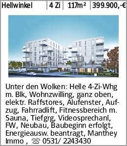 Hellwinkel 4 Zi 117m² 399.900,-€ Unter den Wolken: Helle 4-Zi-Whg m. Blk,...